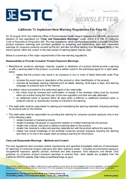 STC, California To Implement New Warning Regulations For Prop 65, OEHHA,