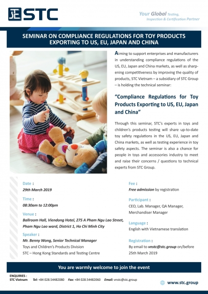 Seminar on Compliance Regulations for Toy Products Exporting to US, EU, Japan and China