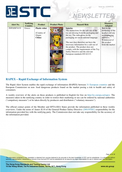 STC, Recall Summary – Toys in Europe, the US and Australia (Jun 2019),