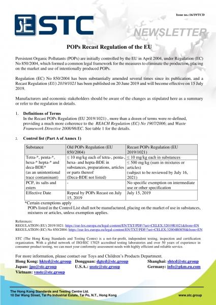 STC, POPs Recast Regulation of the EU,