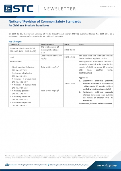 STC, Notice of Revision of Common Safety Standards for Children's Products from Korea,