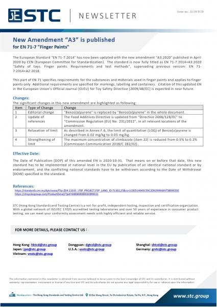 STC, New Amendment A3 is published for EN 71-7 _Finger Paints,