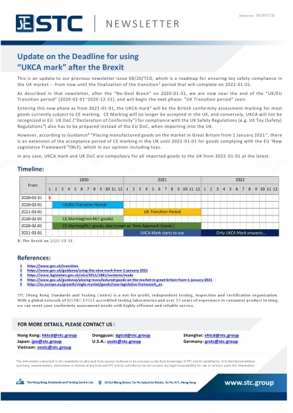 """STC, Update on the Deadline for using """"UKCA mark"""" after the Brexit,"""