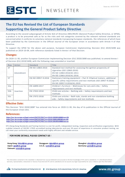 STC, The EU has Revised the List of European Standards  Supporting the General Product Safety Directive,