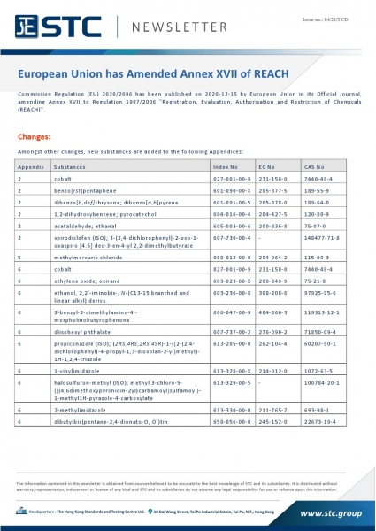 STC, European Union has Amended Annex XVII of REACH,